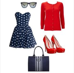 Retro style:: Vintage Fashion:: Polka Dots:: red, white, and blue