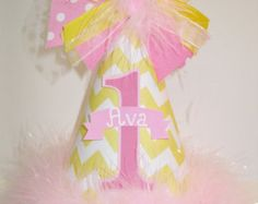 Personalized Pink Lemonade Chevron Birthday Party Hat