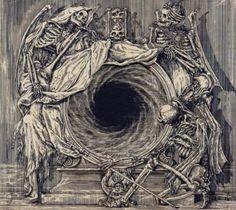Zbigniew M. Bielak (b. Poland) - LP Art for Watain's Lawless Darkness (Norma Evangelium Diaboli), 2010 Art Macabre, La Danse Macabre, Arte Horror, Horror Art, Memento Mori, Dark Fantasy, Fantasy Art, Dance Of Death, Arte Obscura
