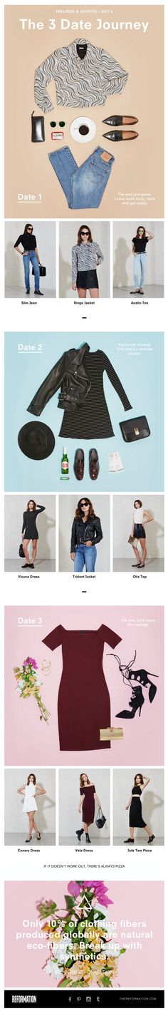 REFORMATION Email - outfit suggestions. Awesome flatlays