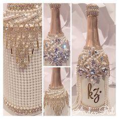 Bedazzled Liquor Bottles, Decorated Liquor Bottles, Bling Bottles, Decorated Wine Glasses, Champagne Bottles, Glitter Wine Bottles, Alcohol Bottles, Alcohol Bottle Decorations, Liquor Bottle Crafts