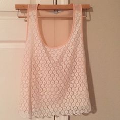 Forever 21 Cropped Tank Top Forever 21 Cropped Tank Top. Size: Small. Color: Light pink with white lace. Brand new, never worn: tags removed. Forever 21 Tops Tank Tops