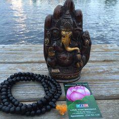 Ganesh and mala. it's a great combination of energy work for Thai massage. Thai Massage, Statue, Ganesh, Sculptures, Ganesha, Sculpture