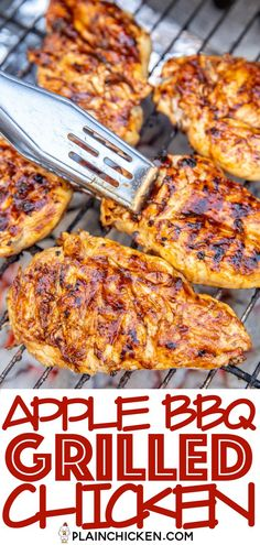 Apple BBQ Grilled Chicken - only 4 ingredients including the chicken! SO good!!! We actually made it twice in one week. Apple juice, brown sugar, BBQ sauce and chicken. We like to brush the chicken with extra BBQ sauce before taking it off the grill. Such an easy weeknight meal. Great as a main dish, on top of a salad or chopped up in a wrap! The whole family LOVES this easy grilled chicken recipe! #grilling #chicken #bbq #grilledchicken