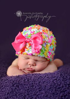 Baby Girl Newborn Hat-3months Photography Prop Knit Crochet Beanie Hat Infant Prop Pink Chunky Soft. $20.00, via Etsy.