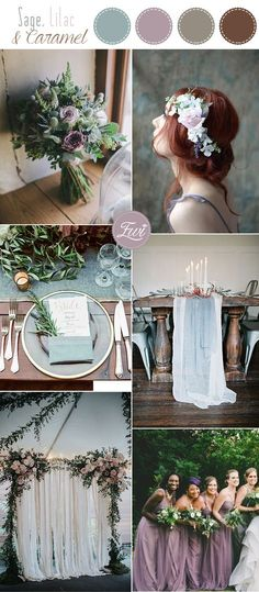 2017-Pretty sage green, lilac and caramel nude wedding color inspiration