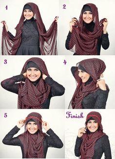Hijab Headbands and Accessories Pictures Tutorials Simple Hijab Tutorial, Hijab Style Tutorial, How To Wear Hijab, How To Wear Scarves, Islamic Fashion, Muslim Fashion, Bandanas, Hajib Fashion, Fashion Outfits
