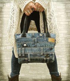 Denim handbag tote bag recycled distressed grunge rock