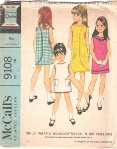 McCalls 9108 1960s Girls  3 Armhole Wrap Arounder by mbchills