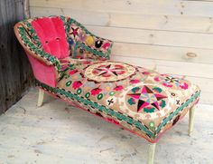 Great chaise, cool textiles