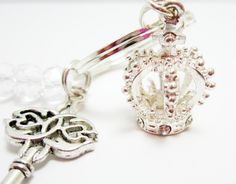 Crown Keychain Crown and Key Charms Clear Rondelle Beads Silver Plate Key Ring King Queen Princess Key Chain 3-D Crown by WhispySnowAngel on Etsy