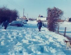 Thick Snow in Rainham Kent England in the very cold weather in January 1979
