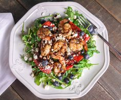 Barbells and Bellinis: Grilled Shrimp and Watermelon Salad with Arugula, Blueberries, Feta and Balsamic Glaze