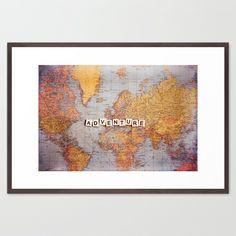 adventure map Framed Art #Print  #map #typography #adventure #travel #world