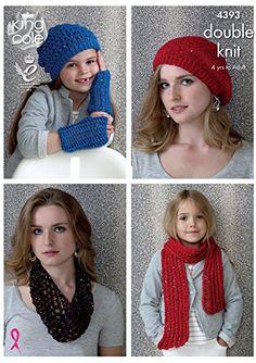 352dacd4702 King Cole Smooth DK Cosmos Ladies Knitting Pattern Womens Girls Hats Scarf  Snood Wristwarmers - I Crochet World