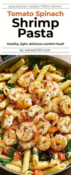 Shrimp Pasta Recipe - Incredibly COMFORTING and just melt-in-your-mouth AMAZING! Loaded with tomatoes spinach and basil. - by Shrimp Pasta Recipe - Incredibly COMFORTING and just melt-in-your-mouth AMAZING! Loaded with tomatoes spinach and basil. Spinach Pasta Recipes, Basil Recipes, Shrimp Pasta Recipes, Healthy Pasta Recipes, Healthy Pastas, Seafood Recipes, Cooking Recipes, Recipe For Shrimp With Pasta, Pasta Recipes