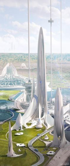 """Dark Energy Plant, Coronado Island - David Knapp""""In a Utopian future, dark energy is utilized as a clean energy source. After being harvested in space, it is transported down to the surface of the earth via massive space elevators where it is then. Futuristic City, Futuristic Technology, Futuristic Design, Futuristic Architecture, Amazing Architecture, Architecture Design, Houston Architecture, Chinese Architecture, Architecture Office"""
