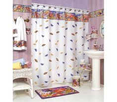 BUTTERFLY bathroom SHOWER Curtain bath home decor NEW Blo...