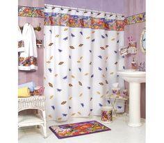 BUTTERFLY bathroom SHOWER Curtain bath home decor NEW Blo...