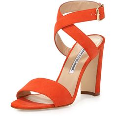 Manolo Blahnik Tondala Suede Ankle-Wrap Sandal ($790) ❤ liked on Polyvore featuring shoes, sandals, orange, open toe sandals, open toe high heel sandals, adjustable strap sandals, ankle tie sandals and high heel sandals