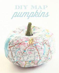 {Decorating} – DIY Map Pumpkins