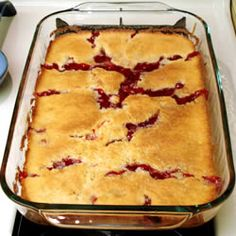 Cherry Cobbler recipe at Allrecipes.com....Crazy easy and few ingredients.