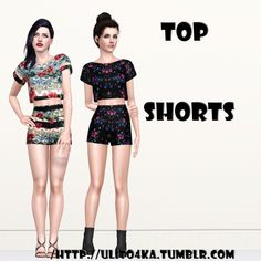 Cropped top and shorts by Ulito4ka - Sims 3 Downloads CC Caboodle