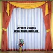 Modern red and white curtain design for window