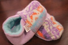 Lavender Fair Isle Baby Booties Lightweight Upcycled Wool and Cashmere