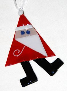 "Folk Art Santa Ornament in Fused Glass, Handcrafted, 3"" x 4"", Each Unique, Red, White, Black"