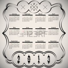 Kalligraphische Elemente - schwarz Design-Kalender Stockfoto - 14881870