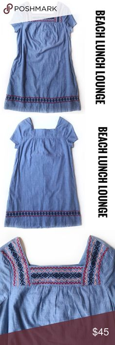 """NWT BEACH LUNCH LOUNGE Chambray Sheath Dress, XS DESCRIPTIONS: NWT BEACH LUNCH LOUNGE Chambray Sheath Dress, XS. - Sheath fit - Embroidered front neckline & along the hemline - Short Sleeve - Lined  MEASUREMENTS (approx.): 30.5"""" Length; 19"""" Armpit to Armpit.   MATERIALS: Shell & Lining: 100% Cotton; Machine wash.   CONDITIONS: NWT Beach Lunch Lounge Dresses"""