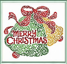 Merry Christmas Bells - cross stitch pattern designed by Ursula Michael.