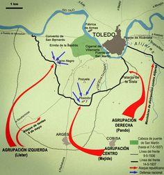 Cartografía. La batalla del Sur del Tajo, 1937.
