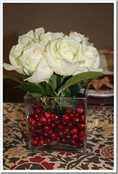 simple but beautiful floral arrangement for thanksgiving or christmas via A Thoughtful Place blog