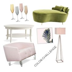 """green and blush"" by mynameisn on Polyvore featuring interior, interiors, interior design, home, home decor, interior decorating, Eichholtz, JAlexander, LSA International and colorchallenge"
