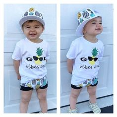 We ❤️ Pineapples! Baby and kids trucker hats.