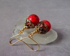 Red Coral Earrings Red Gold Dangles Red Sponge by MsBsDesigns