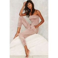 Late Night Ruche Jumpsuit ($48) ❤ liked on Polyvore featuring jumpsuits, jump suit, beige jumpsuit and strapless jumpsuit