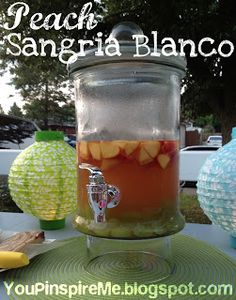 Peach Sangria Blanco (White Wine Punch). Such a tasty thing to serve for a summer book club gathering!