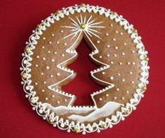 Love the negative space idea Christmas Biscuits, Christmas Sugar Cookies, Christmas Sweets, Christmas Gingerbread, Noel Christmas, Christmas Baking, Christmas Crafts, Fancy Cookies, Iced Cookies