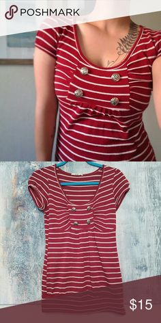 Red Stripe Sailor Tee Lightweight sweater like material in red stripe with sailor button front detail. 67% polyester, 28% rayon, 5% spandex. Smoke free, pet friendly home. Papaya Sweaters