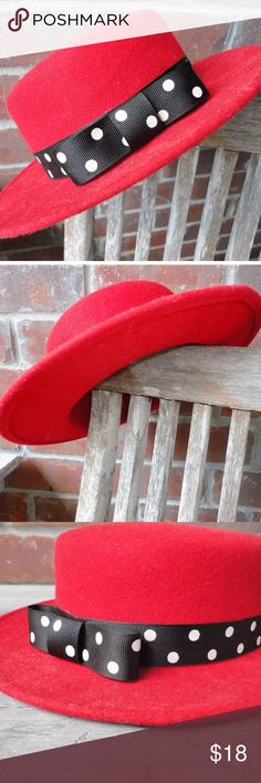 Vintage Red Wool Hat Vintage Red Wool Hat w/black and white pokadot ribbon attached. Made in the USA, WPL4384 Excellent Condition. Thanks for looking and please message me with any questions. Accessories Hats