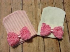 Newborn hospital hat / beanie - pink/white stripe with bow  solid white pink