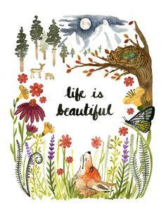 Life Is Beautiful Art Print Watercolor Wall by LittleTruthsStudio