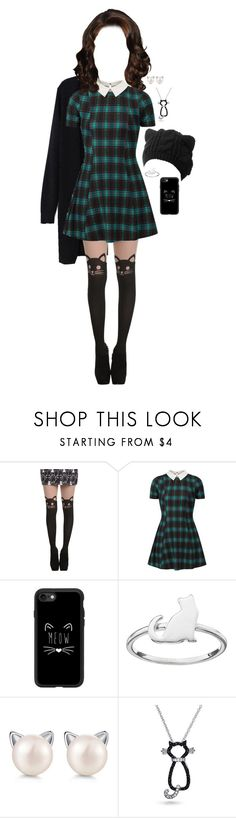 """Fall Dresses: Plaid Kitty🐱"" by sbello ❤ liked on Polyvore featuring Hot Topic, Cameo Rose, Casetify, LC Lauren Conrad and Bling Jewelry"