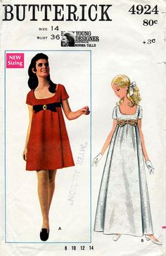 1960s Mod Evening Dress Designer Norma Tullo Vintage Sewing Pattern - Butterick 4924 Bust 36