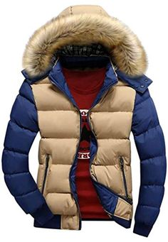 UUYUK Men Thick Fleece Wear to Work Winter Full-Zip Thermal Down Hooded Jacket