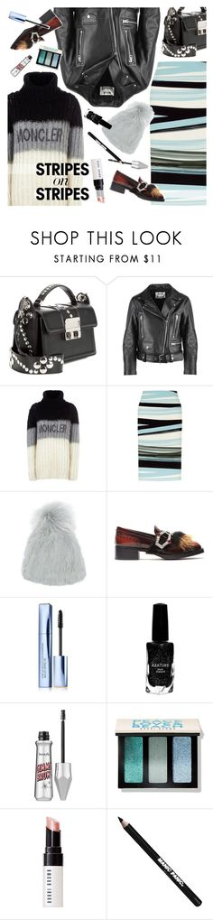 """stripes on stripes"" by ladysnape ❤ liked on Polyvore featuring Acne Studios, Moncler, Fenn Wright Manson, Yves Salomon, Prada, Estée Lauder, Azature, Bobbi Brown Cosmetics, Manic Panic NYC and stripesonstripes"