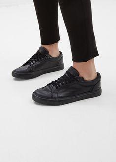Sisii Athletic Low Top Leather Sneaker (Black)